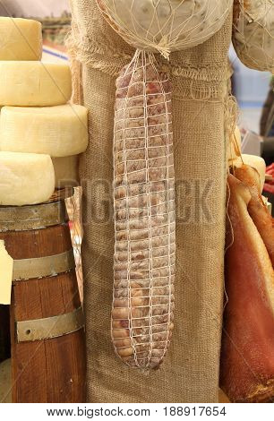 Many Salamis For Sale In The Stand Of Local Produce