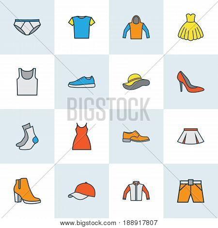 Dress Colorful Outline Icons Set. Collection Of Dress, Panties, Jacket And Other Elements. Also Includes Symbols Such As Sweatshirt, Jacket, Feminine.