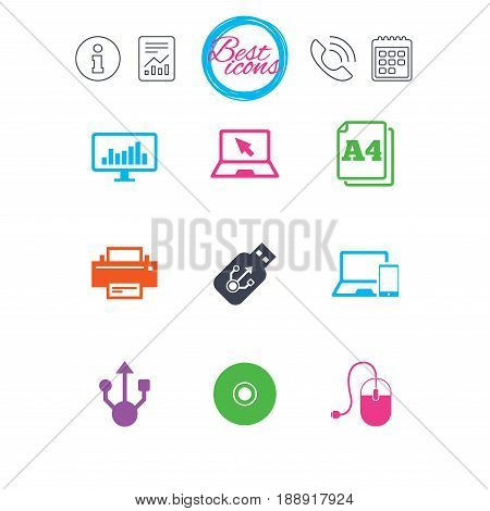 Information, report and calendar signs. Computer devices icons. Printer, laptop signs. Smartphone, monitor and usb symbols. Classic simple flat web icons. Vector