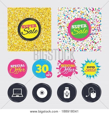 Gold glitter and confetti backgrounds. Covers, posters and flyers design. Notebook pc and Usb flash drive stick icons. Computer mouse and CD or DVD sign symbols. Sale banners. Special offer splash