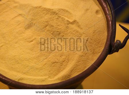 Yellow Wheat Flour In The Old Copper Pail