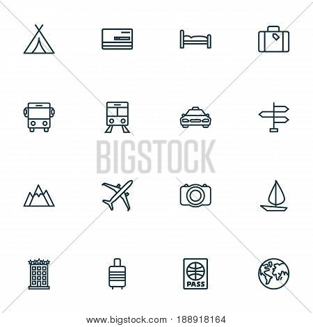 Exploration Outline Icons Set. Collection Of Video, Direction, Ship And Other Elements. Also Includes Symbols Such As Signpost, Valise, Taxi.
