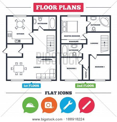 Architecture plan with furniture. House floor plan. Construction helmet and wrench key tool icons. Ruler and tape measure roulette sign symbols. Kitchen, lounge and bathroom. Vector