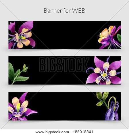 Wildflower orhid promo sale banner template in a watercolor style isolated. Aquarelle wildflower orhid promo sale banner template for background, texture, wrapper pattern, frame or border.