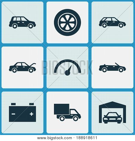 Car Icons Set. Collection Of Car, Lorry, Fixing And Other Elements. Also Includes Symbols Such As Convertible, Wheel, Fixing.