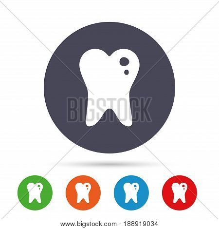 Caries tooth icon. Tooth filling sign. Dental care symbol. Round colourful buttons with flat icons. Vector