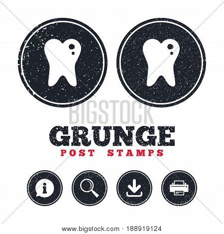 Grunge post stamps. Caries tooth icon. Tooth filling sign. Dental care symbol. Information, download and printer signs. Aged texture web buttons. Vector