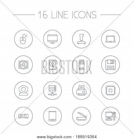 Set Of 16 Notebook Outline Icons Set.Collection Of Speaker, Hdd, Tablet And Other Elements.