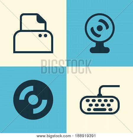 Computer Icons Set. Collection Of Web Camera, File Scanner, Computer Keypad And Other Elements. Also Includes Symbols Such As Printer, Keypad, Webcam.