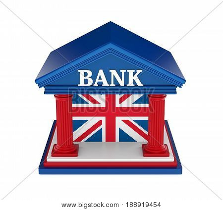 United Kingdom Bank Building isolated on white background. 3D render