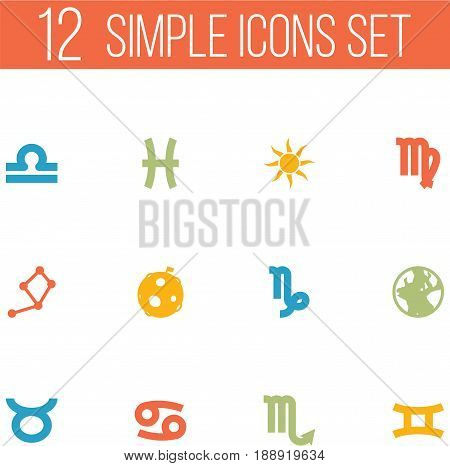 Set Of 12 Astrology Icons Set.Collection Of Fishes, Crab, Scales And Other Elements.