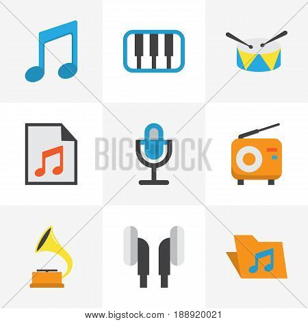 Music Flat Icons Set. Collection Of Earpiece, Broadcasting, Pianoforte And Other Elements. Also Includes Symbols Such As Portfolio, Note, Tone.