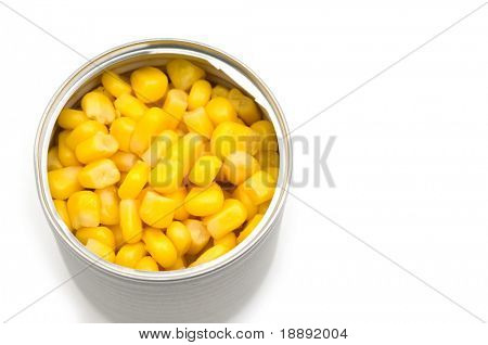 maize in the tin on white background