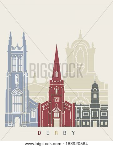 Derby skyline poster in editable vector file