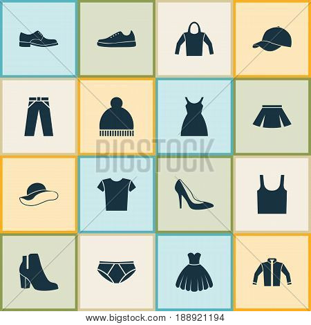Garment Icons Set. Collection Of Cardigan, Beanie, Stylish Apparel And Other Elements. Also Includes Symbols Such As Briefs, Clothes, Pants.