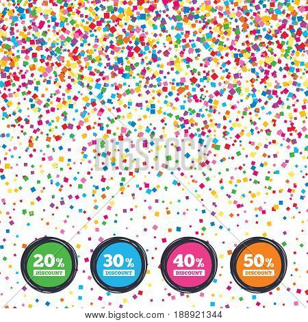 Web buttons on background of confetti. Sale discount icons. Special offer price signs. 20, 30, 40 and 50 percent off reduction symbols. Bright stylish design. Vector