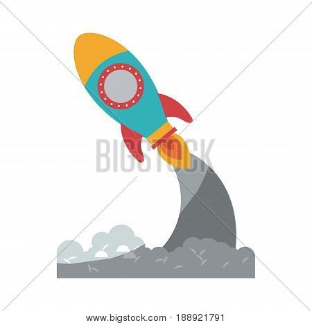colorful silhouette of pace rocket launch without contour and shading vector illustration