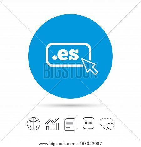 Domain ES sign icon. Top-level internet domain symbol with cursor pointer. Copy files, chat speech bubble and chart web icons. Vector