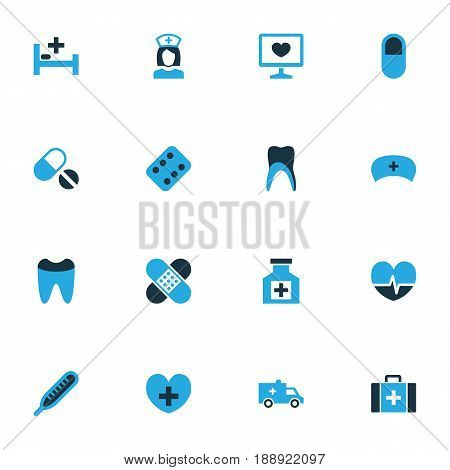 Antibiotic Colorful Icons Set. Collection Of Remedy, Tooth, Temperature And Other Elements. Also Includes Symbols Such As Remedy, Help, Case.