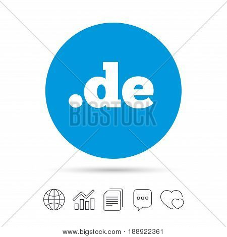 Domain DE sign icon. Top-level internet domain symbol. Copy files, chat speech bubble and chart web icons. Vector