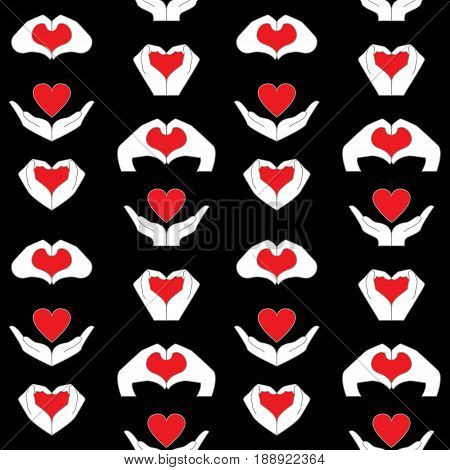 Pattern from hand and heart icons set. Vector background to denote love and health isolated on black background.
