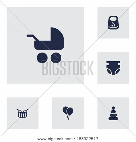 Set Of 6 Kid Icons Set.Collection Of Toy, Nappy, Air Balloon And Other Elements.