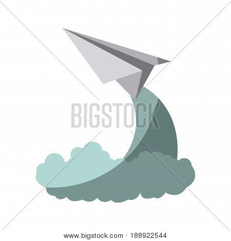 colorful silhouette off paper plane launch without contour and shading vector illustration