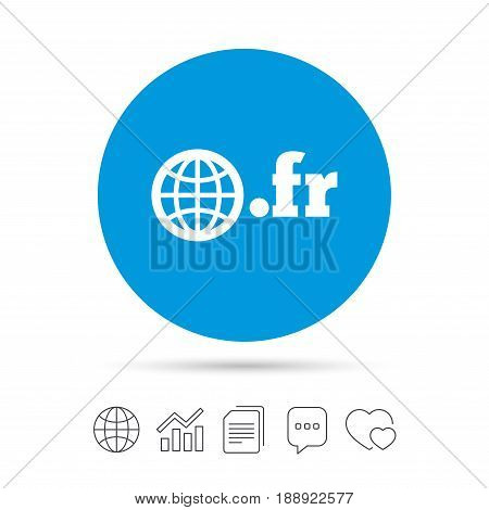 Domain FR sign icon. Top-level internet domain symbol with globe. Copy files, chat speech bubble and chart web icons. Vector