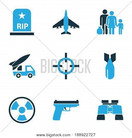 Army Colorful Icons Set. Collection Of Bio Hazard, Artillery, Aim And Other Elements. Also Includes Symbols Such As Fugitive, Bomb, Firearm.