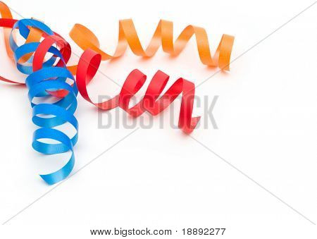 colorful streamers on white background