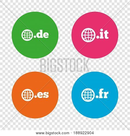 Top-level internet domain icons. De, It, Es and Fr symbols with globe. Unique national DNS names. Round buttons on transparent background. Vector