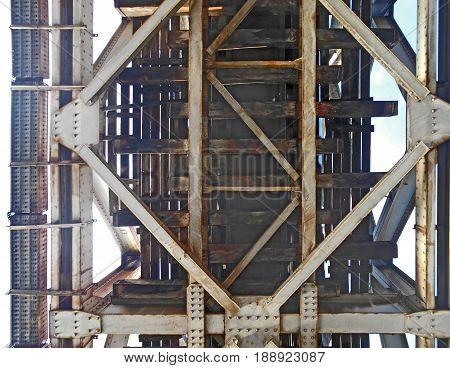 metal construction of old railway bridge, details