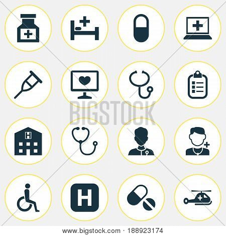Medicine Icons Set. Collection Of Stand, Pills, Pellet Elements. Also Includes Symbols Such As Bed, Copter, Healer.