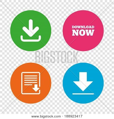 Download now icon. Upload file document symbol. Receive data from a remote storage signs. Round buttons on transparent background. Vector