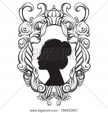 Creative vector illustration of woman bautiful ypung profile in barogue frame. Surrealism artwork. Template for postcard banner vintage poster print for t-shirt