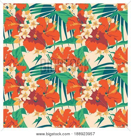 Seamless summer Hawaiian tropical pattern with, palm leaves and flowers. Vector illustration.