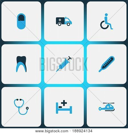 Drug Colorful Icons Set. Collection Of Clinic, First-Aid, Syringe And Other Elements. Also Includes Symbols Such As Nurse, Medicine, Polyclinic.