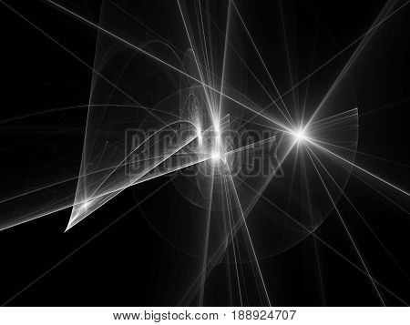 Glowing spiral trajectories in space dark matter and energy black and white texture 3D rendering