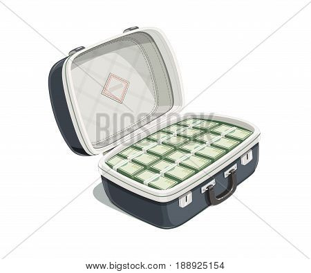 Black open briefcase with bundle of dollar bank note. Case money. Isolated white background. Vector illustration.