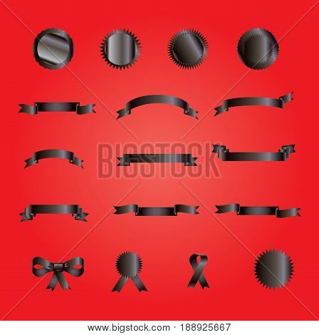 ribbon banners, bow tie, ribbon tie, stickers, logo collection. Vector illustration. Set of ribbons and banners black color on red background.