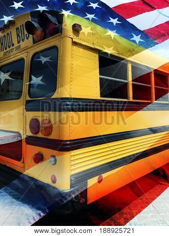 American school bus and USA flag background