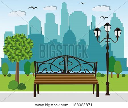 Blooming summer city park, bench and streetlight, trees and plants on city background. Cityscape vector illustration.