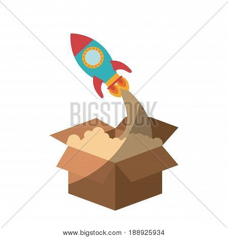 colorful silhouette of space rocket coming out of the box without contour and shading vector illustration
