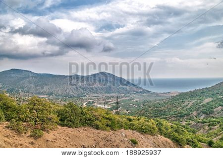 Landscape of a mountain valley in the Crimea Russia