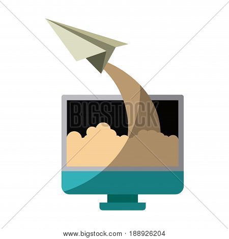 colorful silhouette of lcd monitor and paper plane without contour and shading vector illustration