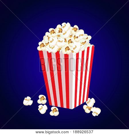 Carton bowl full of popcorn and paper glass of drink.vector
