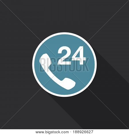24h support icon vector isolated on black .