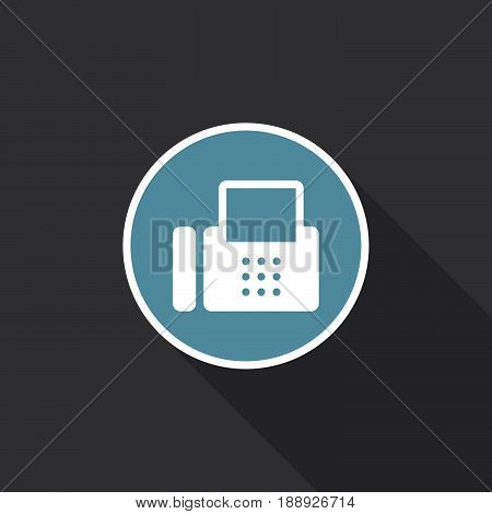 fax icon vector isolated on black .