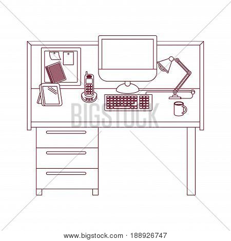 dark red line contour of workplace office interior vector illustration