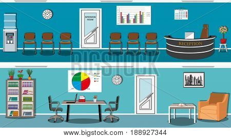 Waiting hall and interview room in a blue color with reception, chairs, bookcase, table, armchair and water cooler. Office space. Flat style vector illustration.
